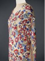 Ten Tül Üzeri Rengarenk Çiçek Desenli Boncuklu - Payetli Kupon Kumaş - A30954
