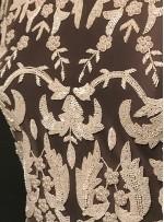 Çiçek Desenli Boncuklu ve Payetli Gelinlik Krem Elbiselik Kumaş - A30956