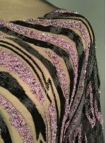 Desenli Boncuklu ve Payetli Siyah - Lila Elbiselik Kupon Kumaş - A30967