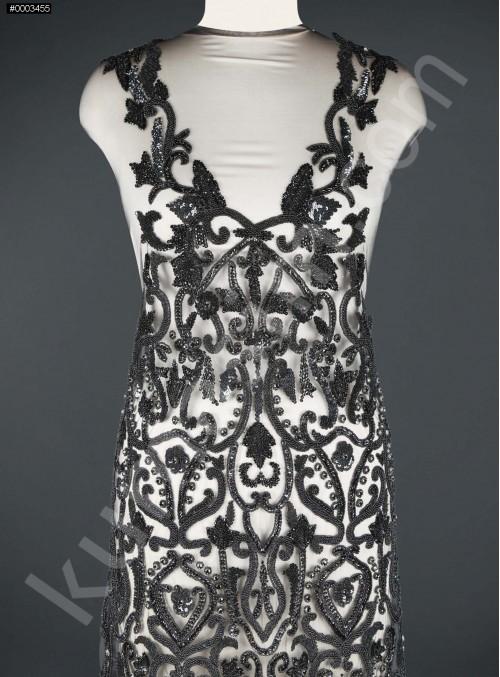 Etnik Desenli Taşlı - Payetli - Boncuklu Siyah Elbiselik Kupon Kumaş - A30972