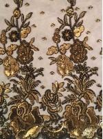 Çiçek Desenli Boncuklu ve Payetli Gold Kumaş - A40059