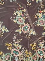 Rengarenk Çiçek Desenli Nakışlı - Kordoneli - Payetli Kumaş - A40084