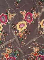 Rengarenk Çiçek Desenli Nakışlı - Kordoneli - Payetli Kumaş - A40085