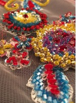 Rengarenk Çiçek Desenli Payetli - Boncuklu - Taşlı Abiye Kumaş - A40089