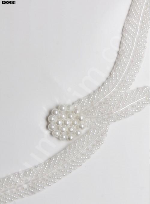 Boncuklu ve Desenli Beyaz Çiçekli İnci Kenar Bant - AK0023