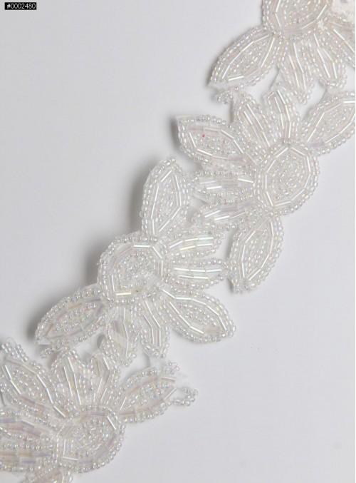 Boncuklu ve Çiçek Desenli Beyaz İnci Kenar Bant - AK0026