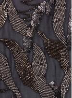 Zırh Görünümlü Boncuklu Payetli Metal Bronz Abiye Kumaş - KAM1792