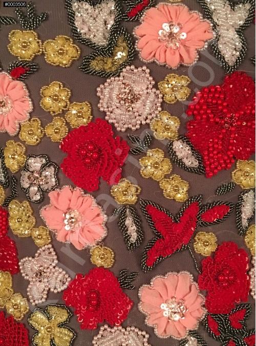 Çiçek Desenli Swarovski Taşlı ve Boncuklu Rengarenk Kupon Büstiyer - AM959