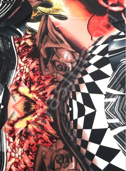 Desenli Polyester Empirme Saten Kumaş - Siyah - Beyaz - Bordo - G018