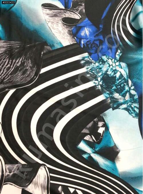 Desenli Polyester Empirme Saten Kumaş - Siyah - Beyaz - Turkuaz - G019