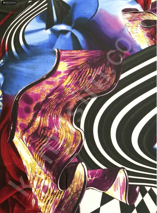 Desenli Polyester Empirme Saten Kumaş - Siyah - Beyaz - Mavi - G020