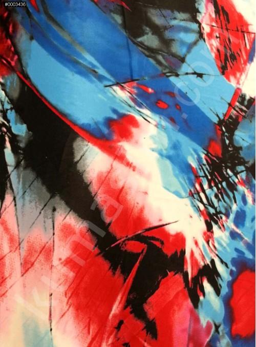 Desenli Polyester Empirme Saten Kumaş - Mavi -Kırmızı - Siyah - G022