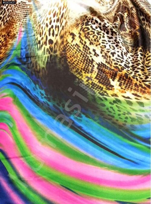 Leopar Desenli Polyester Emprime Saten Kumaş - Pembe - G023