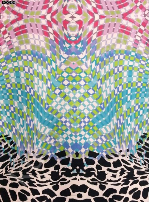Çok Renkli ve Çok Desenli Polyester Emprime Saten Kumaş - G025