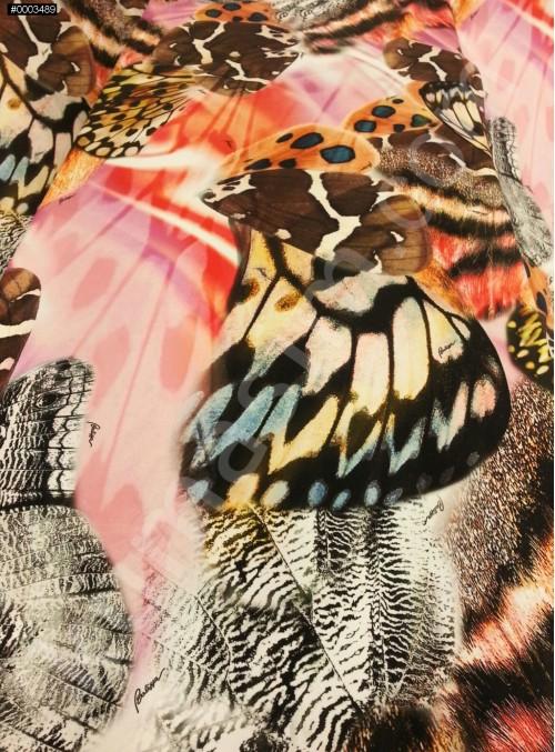 Kelebek Desenli Abiyelik ve Günlük %95 İpek Saten Kumaş - G039