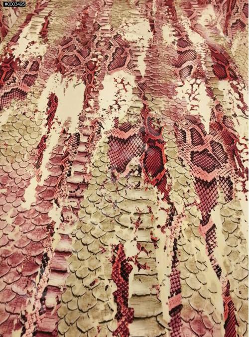 Timsah Desenli Abiyelik - Elbiselik %100 İpek Saten Kumaş - G040
