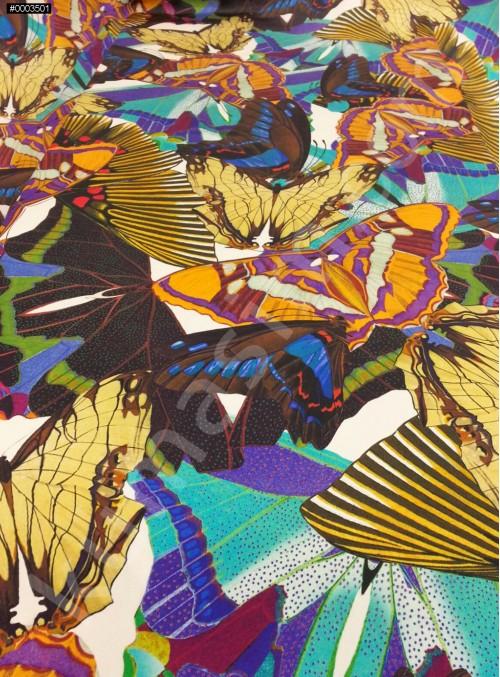 Kelebek Desenli Abiyelik - Elbiselik %100 İpek Saten Kumaş - G046