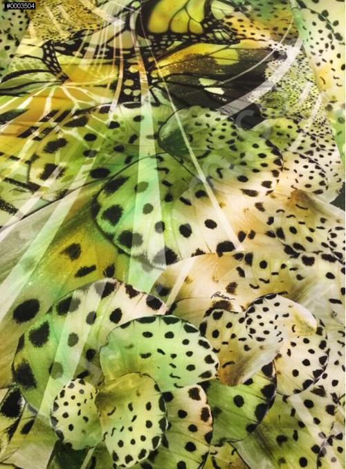 Yeşil Abiyelik - Elbiselik Emprime %100 İpek Saten Kumaş - G048