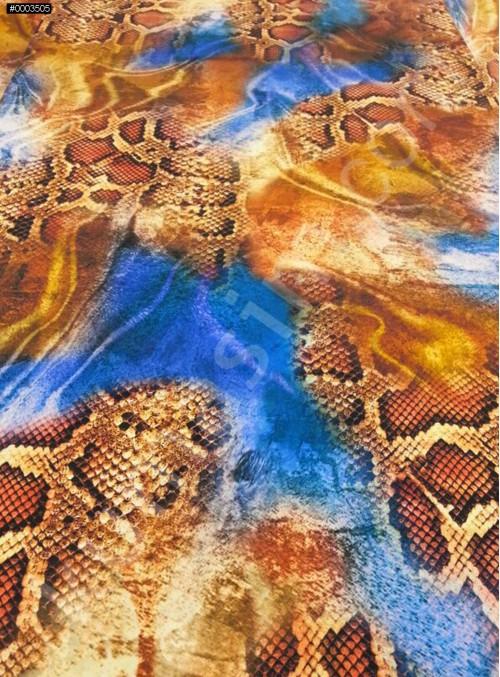 Hayvan Desenli Abiyelik - Elbiselik %100 İpek Saten Kumaş - G049
