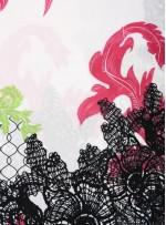 Etnik Yaprak Desenli İpek Empirme Çin Krep Kumaş - G054