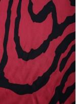 Çizgi Desenli Bordo İpek Empirme Saten Kumaş - G056