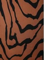 Çizgi Desenli Kahverengi İpek Empirme Saten Kumaş - G056