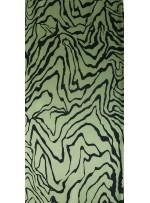 Çizgi Desenli Yeşil İpek Empirme Saten Kumaş - G056