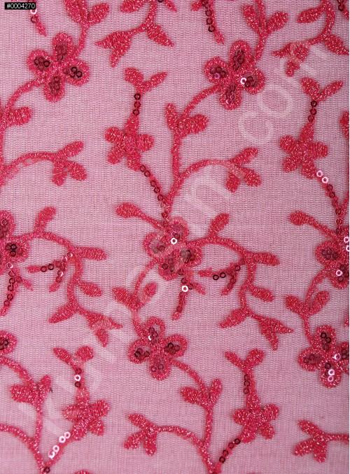 Çiçek Desenli Payetli ve Nakışlı Fuşya Abiye Elbiselik Kumaş - K136