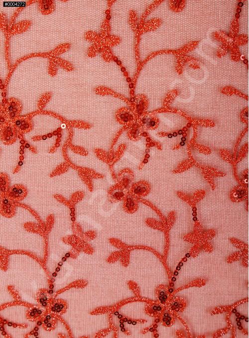 Çiçek Desenli Payetli ve Nakışlı Kırmızı Abiye Elbiselik Kumaş - K136