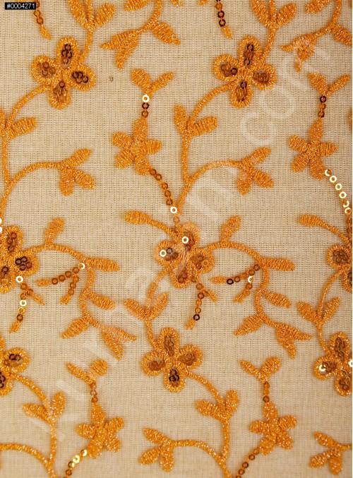 Çiçek Desenli Payetli ve Nakışlı Turuncu Abiye Elbiselik Kumaş - K136