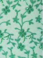 Çiçek Desenli Payetli ve Nakışlı Yeşil Abiye Elbiselik Kumaş - K136
