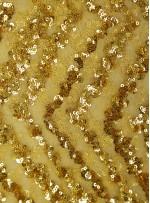Abiye Elbiselik Zigzag Desenli Gold Deri Payetli Kumaş - K139
