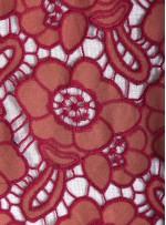 Fuşya - Kremit Çiçek Desenli Çift Taraflı Kullanılabilir Deri Kumaş - K208