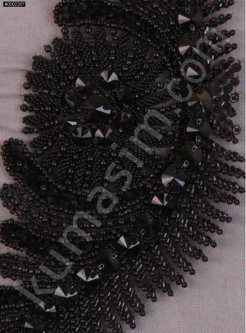 Kanat Desenli Swarovski Taşlı ve Boncuklu Siyah Çift Büstiyer - AM585