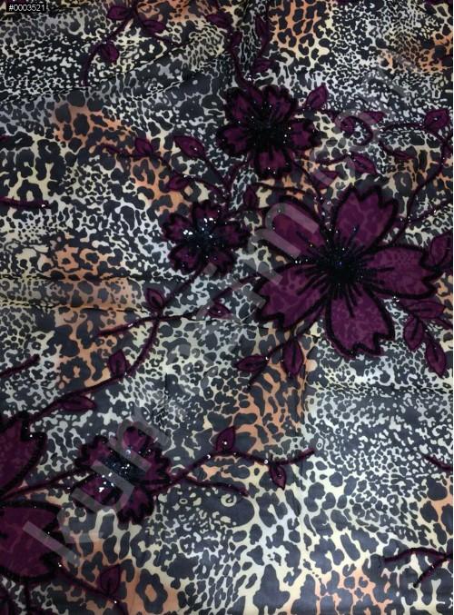 Çiçek ve Leopar Desenli İşlemeli %100 İpek Şifon Kumaş - TK801