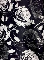 Abiye Elbiselik Çiçek Desenli %100 Siyah - Beyaz İpek Saten Kumaş - Y041
