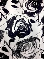 Abiye Elbiselik Dal Desenli %100 Siyah - Beyaz İpek Saten Kumaş - Y042
