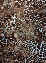 Abiyelik ve Elbiselik Leopar Desenli %100 Kahverengi İpek Saten Kumaş - Y043