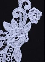 Gelinlik ve Nişanlık Çiçek Desenli Ekru - Lame Aplike - K40628